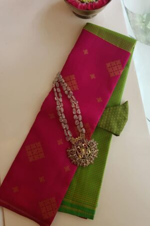 pink and green half and half kanchipuram silk saree