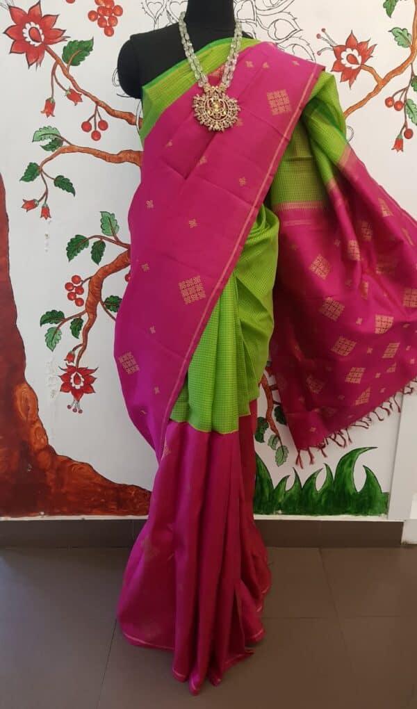 pink and green half and half kanchipuram silk saree1