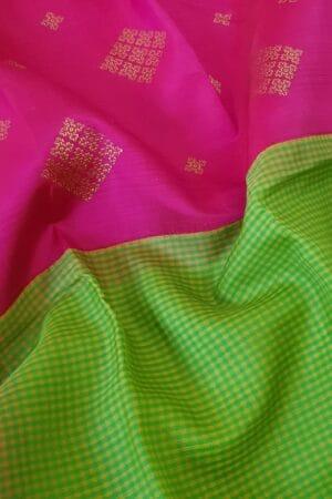 pink and green half and half kanchipuram silk saree4