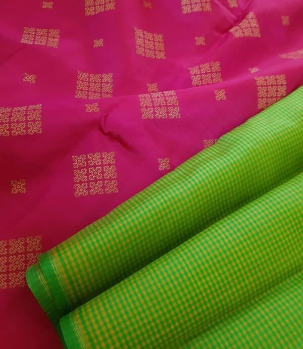 pink and green half and half kanchipuram silk saree5