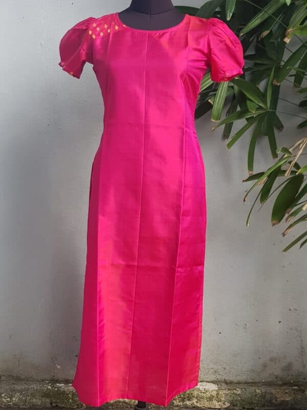 pink silk puff sleeve