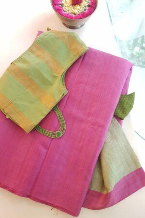 pink tussar saree with green pallu