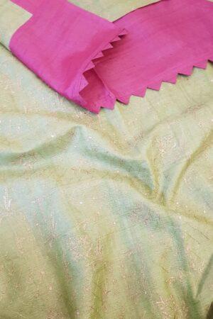 pink tussar saree with green pallu1