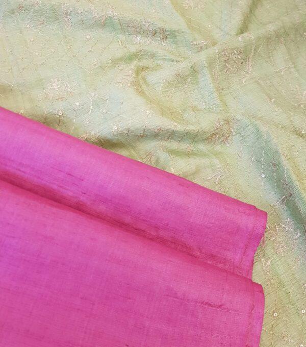 pink tussar saree with green pallu2
