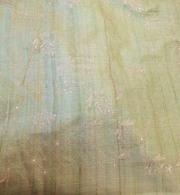 pink tussar saree with green pallu3