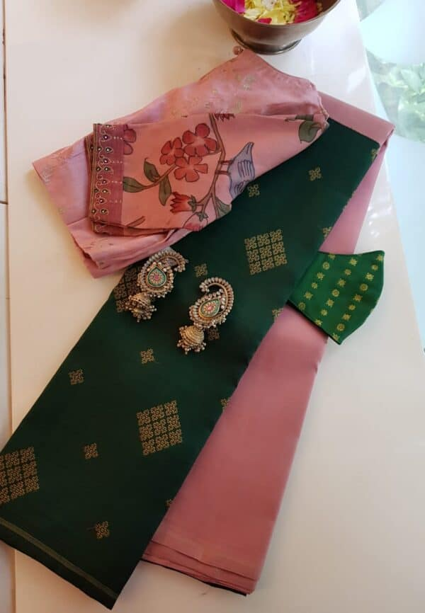 pink with bottle green half half kanchi silk saree