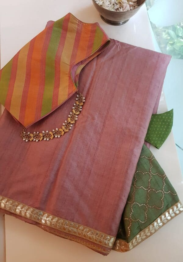pink with green pallu