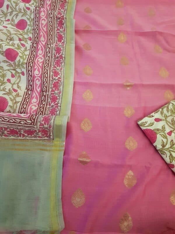 pink zari woven chanderi with bp dupatta