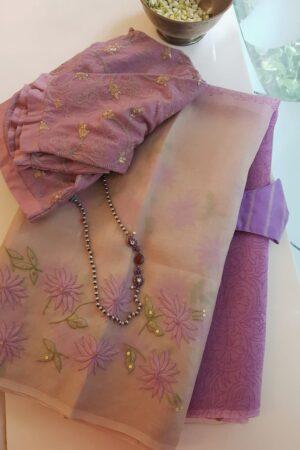 purple and beige shadow work saree