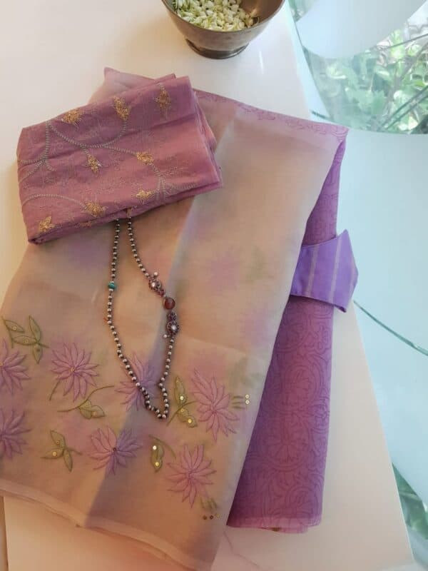 purple and beige shadow work saree1