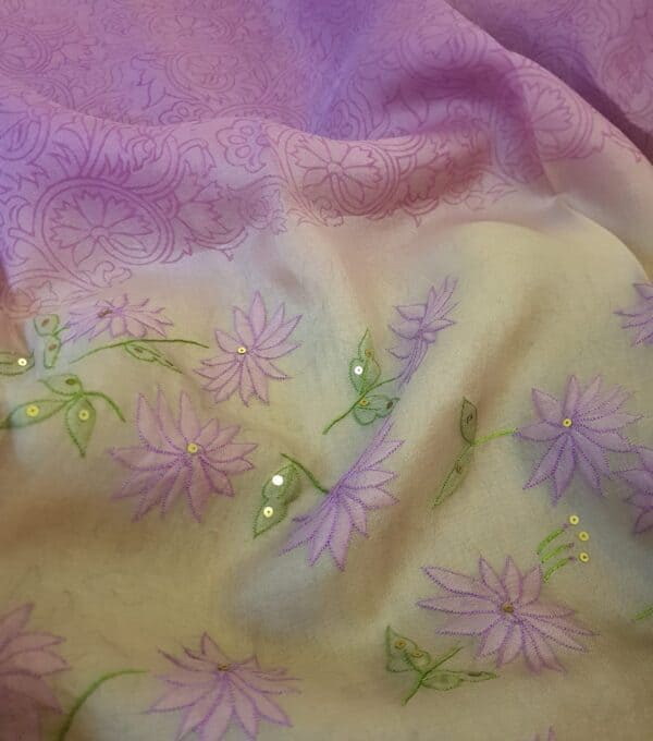 purple and beige shadow work saree3
