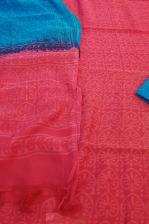 red and blue chanderi dupatta