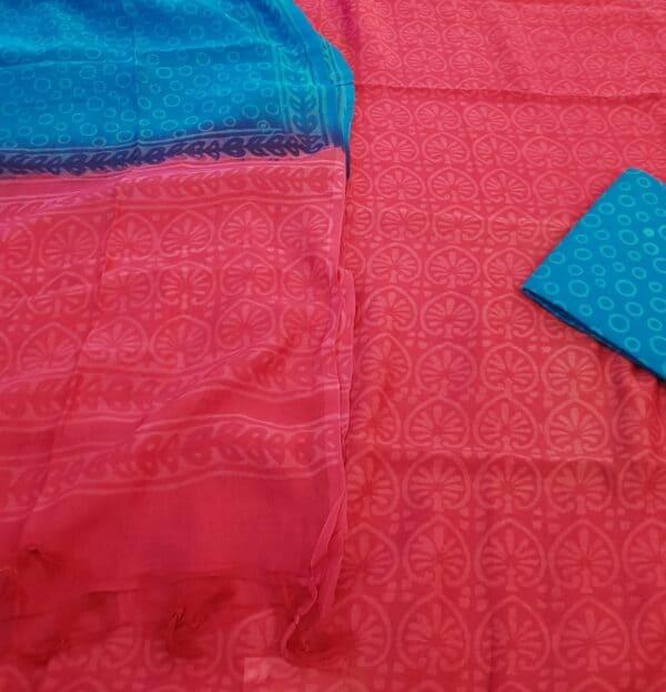 red and blue chanderi dupatta