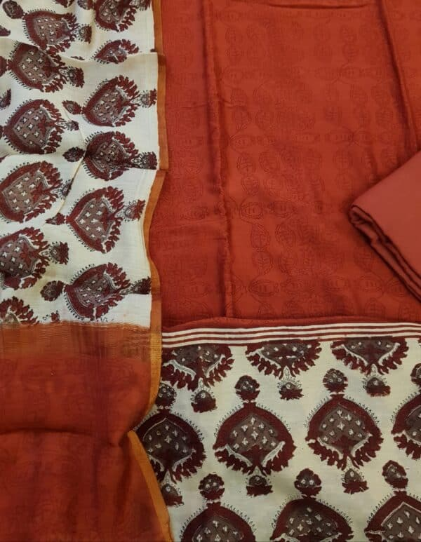 red block printed chanderi