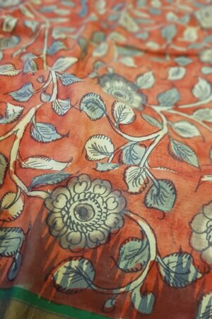 red kalamkari saree with blue border1