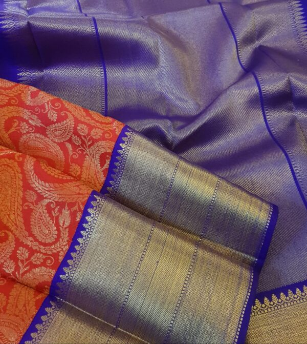 red kanchi silk saree with blue border2