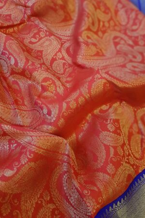 red kanchi silk saree with blue border3