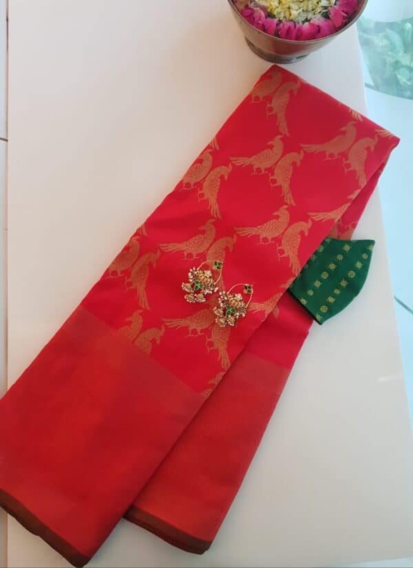 red kanchipuram silk saree with tissue border