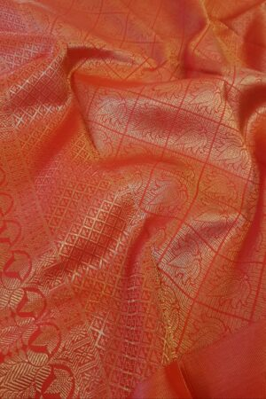 red kanchipuram silk saree with tissue border1