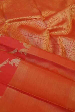 red kanchipuram silk saree with tissue border2