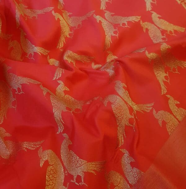 red kanchipuram silk saree with tissue border4