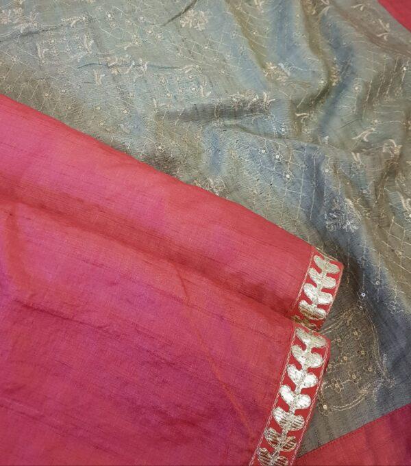 tomato red tussar saree with grey pallu2