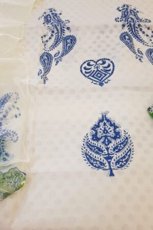white with blue block prints