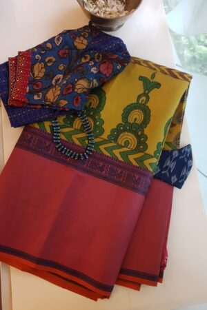 yellow kalamkari saree with pink border