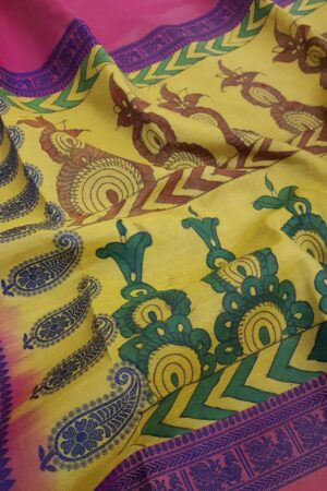 yellow kalamkari saree with pink border2