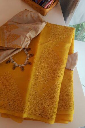 yellow organza saree with kutchwork2