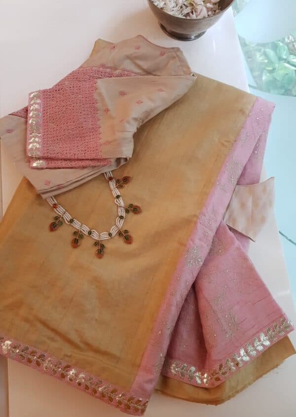 yellow with pink pallu