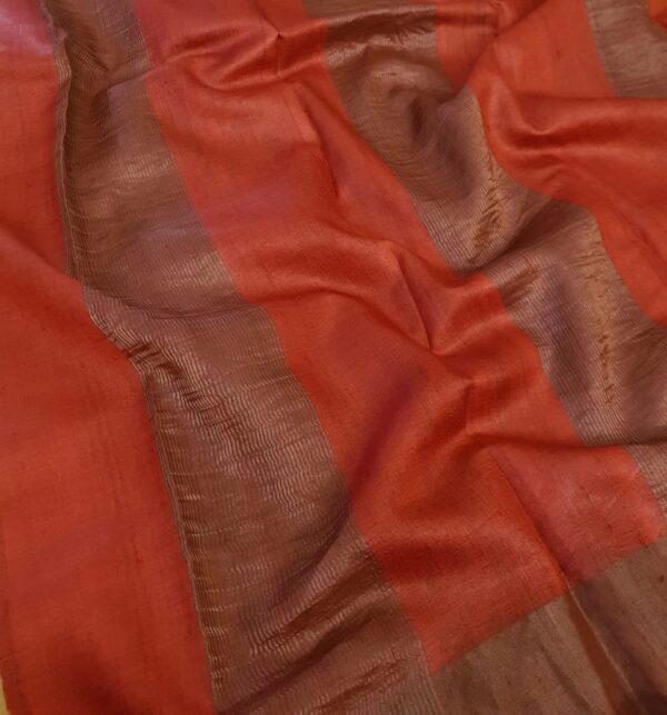 yellow with red zari border tussar sareee1