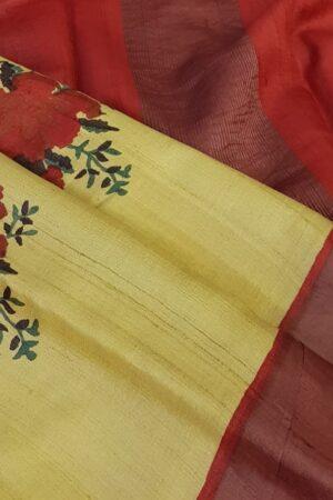 yellow with red zari border tussar sareee2