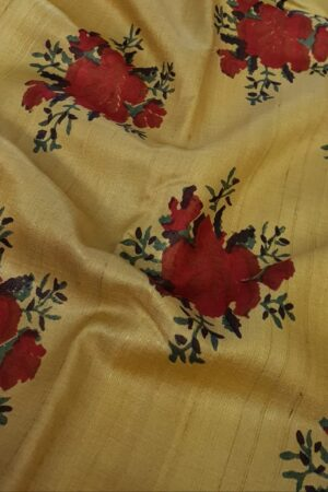 yellow with red zari border tussar sareee3