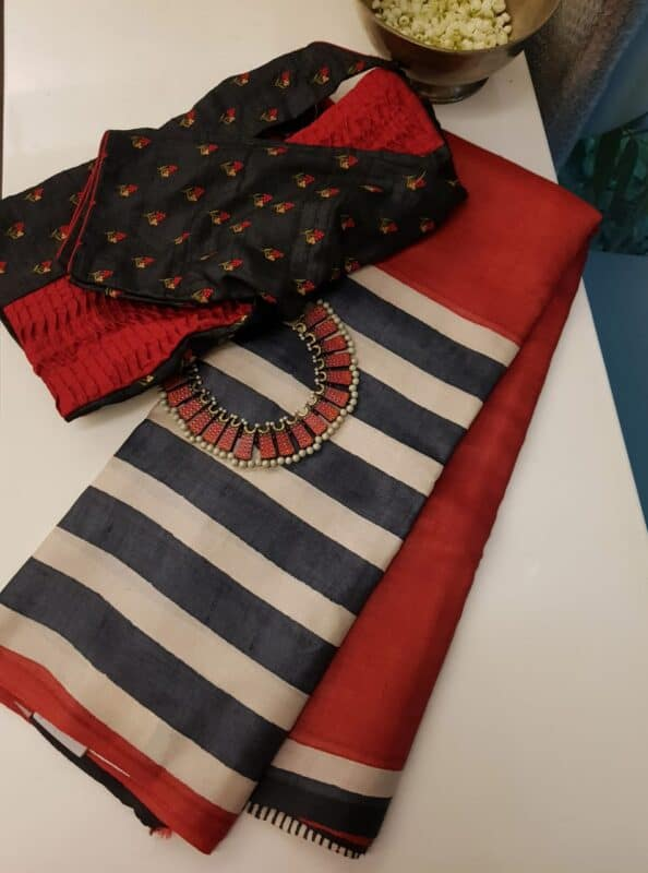 Black and red tussar saree