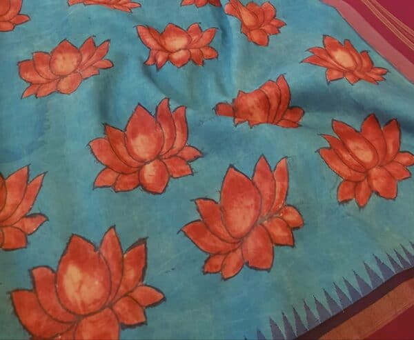Blue with maroon border and lotus2
