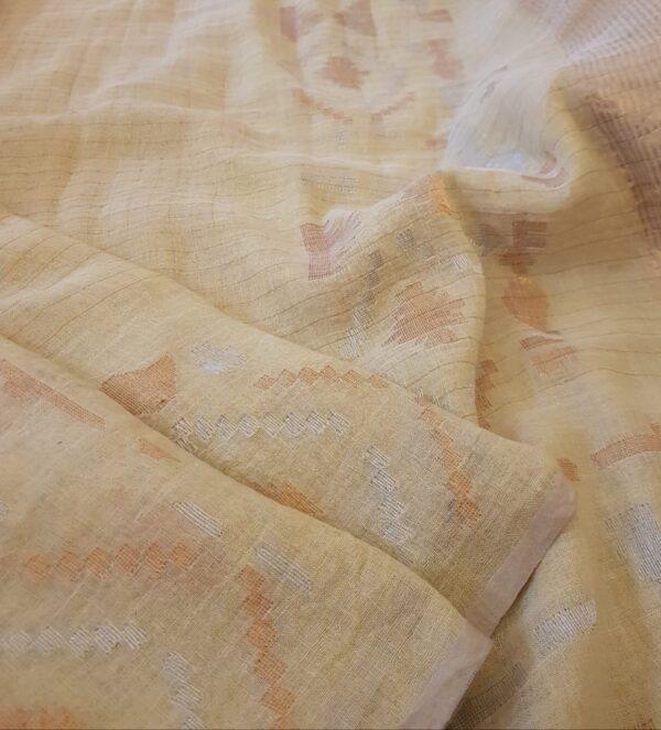 Butter cream linen saree3