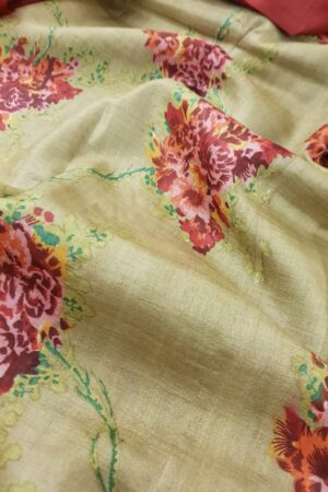 Green tussar saree with rust flowers1