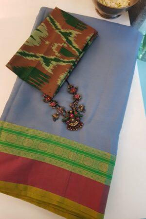 Grey chiffon sari with kanchi cotton border