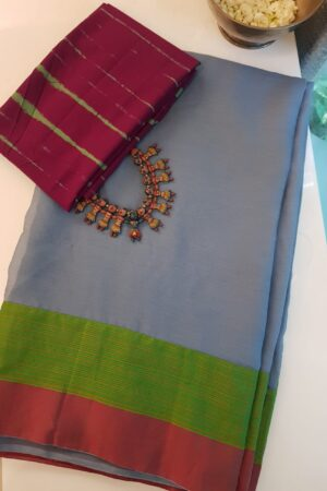 Grey chiffon sari with kanchi cotton border3