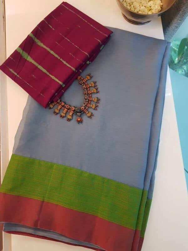 Grey chiffon sari with kanchi cotton border3