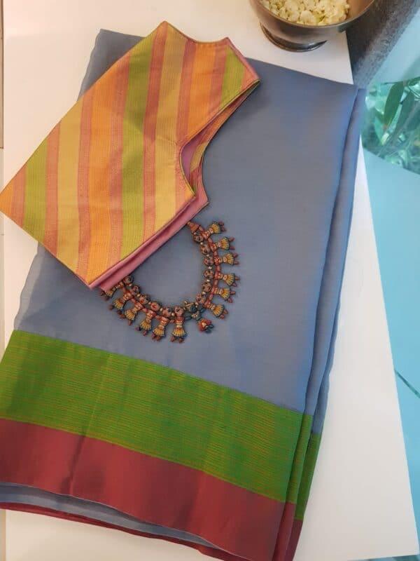 Grey chiffon sari with kanchi cotton border4