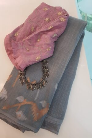 Grey linen saree with jamdhani border