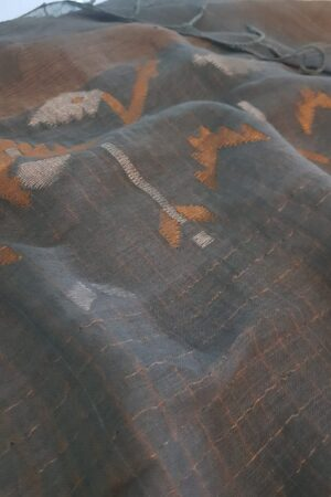 Grey linen saree with jamdhani border1