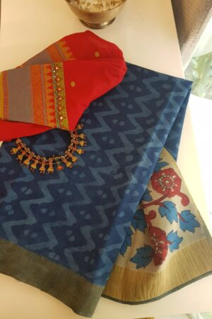 Indigo blue dhabu and kalamkari pallu