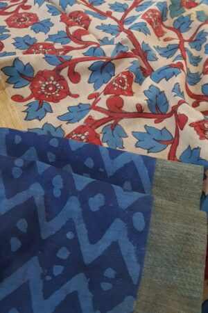 Indigo blue dhabu and kalamkari pallu2