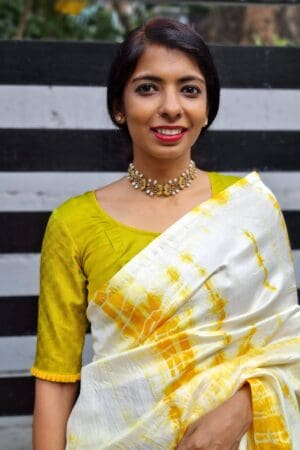 Mustard and green payadi blouse