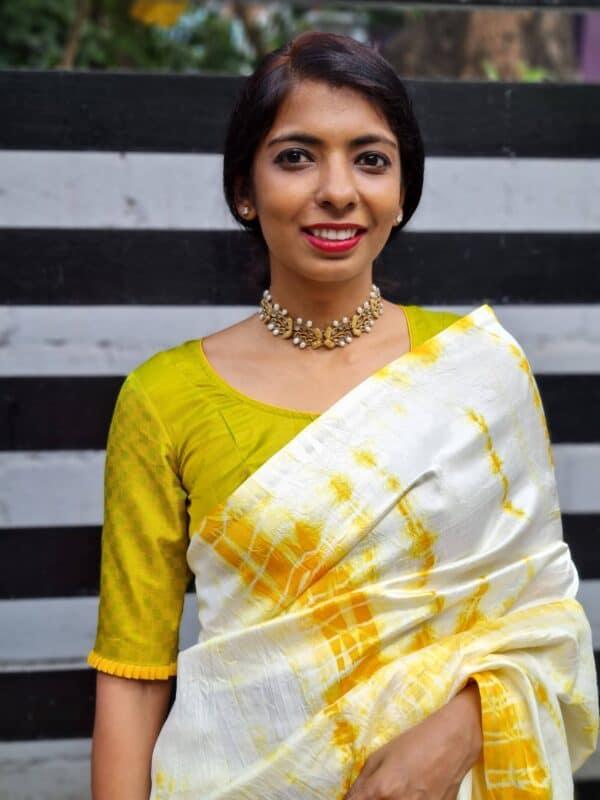 Mustard and green payadi blouse