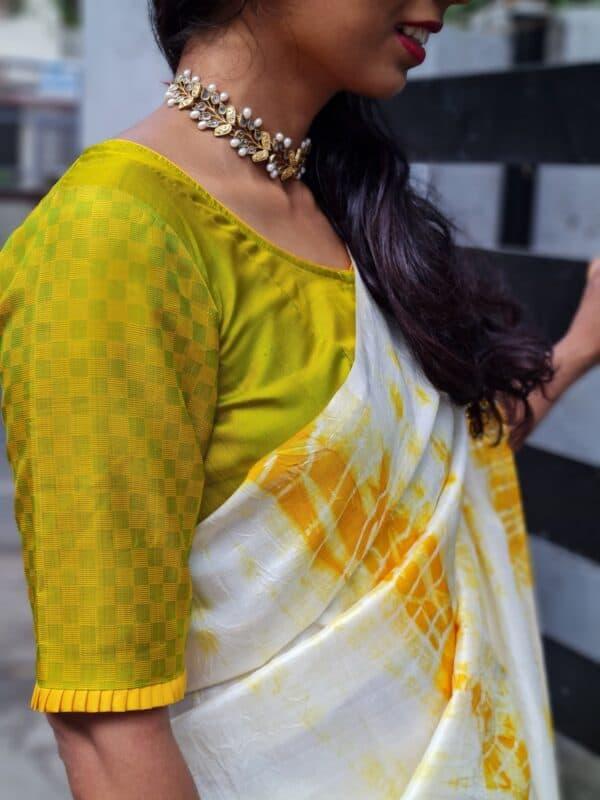 Mustard and green payadi blouse2