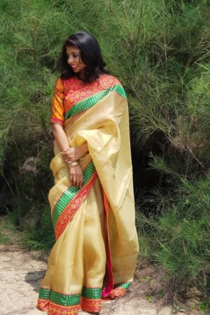 Pale mustard organza saree with kutch work border3